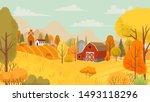 autumn farming landscape.... | Shutterstock .eps vector #1493118296