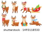 cartoon christmas deer. cute... | Shutterstock .eps vector #1493118533