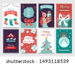 christmas postcard. garlands on ... | Shutterstock .eps vector #1493118539