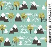 seamless pattern  mountains ... | Shutterstock .eps vector #1493123849