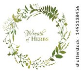 round floral frame with green... | Shutterstock .eps vector #1493138456