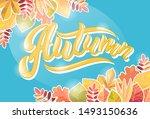 vector illustration of autumn... | Shutterstock .eps vector #1493150636