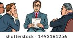 business presentation  a man... | Shutterstock .eps vector #1493161256