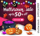 halloween sale  pink square... | Shutterstock .eps vector #1493163989