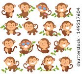 playful monkeys set | Shutterstock .eps vector #149317604