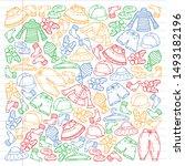 vector set of hand drawn... | Shutterstock .eps vector #1493182196