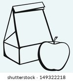 paper bag and apple isolated on ...
