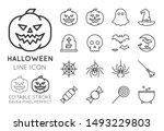 halloween line icon set.... | Shutterstock .eps vector #1493229803