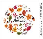 Stock vector autumn leaves falling cartoon set 1493229806