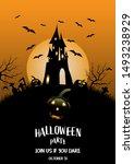 halloween party invitation ... | Shutterstock .eps vector #1493238929