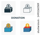 donation outline icon. thin...