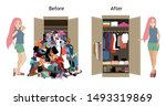 before untidy and after tidy... | Shutterstock .eps vector #1493319869