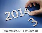 man changing metallic numbers... | Shutterstock . vector #149332610