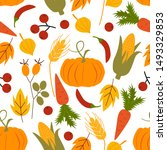 seamless pattern with autumn... | Shutterstock .eps vector #1493329853