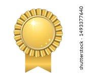 award ribbon gold icon. golden... | Shutterstock .eps vector #1493377640