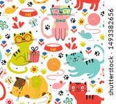 seamless pattern with colorful... | Shutterstock .eps vector #1493382656