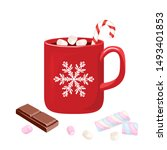 Hot Chocolate In Red Mug With...