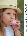 caucasian cute little girl in a ... | Shutterstock . vector #149340698