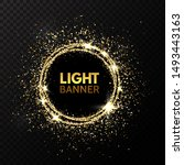 glitter circle. festive gold... | Shutterstock .eps vector #1493443163