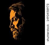 brutal bearded man portrait...   Shutterstock .eps vector #1493458973