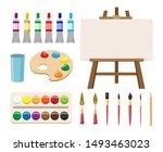 painting art tools. cartoon... | Shutterstock .eps vector #1493463023