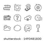 Set of Business icons, such as Cogwheel, Snow weather, Select alarm, Head, Macadamia nut, Yummy smile, Cashback, Engineering documentation, Survey progress, Wine glass, Sunny weather. Vector