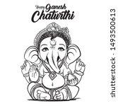 happy ganesh chaturthi. flat... | Shutterstock .eps vector #1493500613