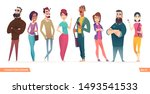 group of charismatic smiling... | Shutterstock .eps vector #1493541533