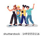 happy young friend group taking ...   Shutterstock .eps vector #1493553116