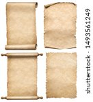 Small photo of old papers or parchment scrolls set isolated
