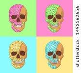 donut skull pop art graphic...