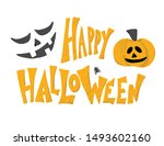 happy halloween emblem. vector... | Shutterstock .eps vector #1493602160