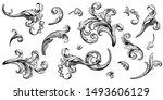 Stock vector vintage baroque victorian frame border floral ornament leaf scroll engraved retro flower pattern 1493606129