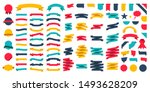 set of 100 ribbons. ribbon... | Shutterstock .eps vector #1493628209