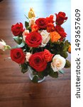 colorful bouquet of roses in...   Shutterstock . vector #1493657609