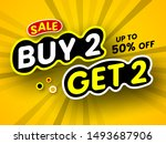 buy 2  get 2 sale banner on... | Shutterstock .eps vector #1493687906