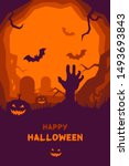 happy halloween poster of... | Shutterstock .eps vector #1493693843