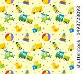 seamless pattern cartoon... | Shutterstock .eps vector #1493723093