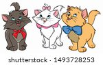 Three Cute Cartoon Cats In...
