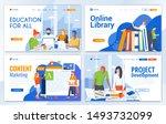 set of landing page design... | Shutterstock .eps vector #1493732099