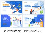 set of landing page design... | Shutterstock .eps vector #1493732120