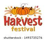 harvest festival hand drawn... | Shutterstock .eps vector #1493735276