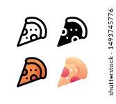 pizza logo icon design in four...