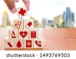 hand arranging wood block... | Shutterstock . vector #1493769503