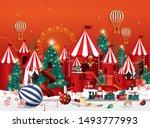 christmas winter wonderland... | Shutterstock .eps vector #1493777993