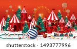 christmas winter wonderland... | Shutterstock .eps vector #1493777996