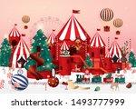 christmas winter wonderland... | Shutterstock .eps vector #1493777999