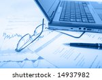 stock charts with pen and... | Shutterstock . vector #14937982