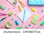 Bright school stationery on...