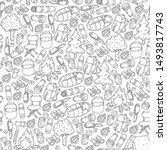 camping doodle set. vector...   Shutterstock .eps vector #1493817743